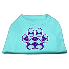 Mirage Pet Products Argyle Paw Purple Screen Print Shirt Aqua XS (8)