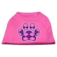 Mirage Pet Products Argyle Paw Purple Screen Print Shirt Bright Pink Sm (10)