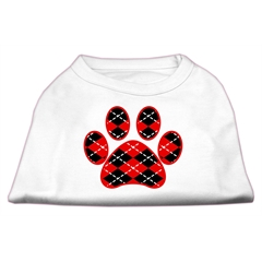 Mirage Pet Products Argyle Paw Red Screen Print Shirt White L (14)