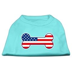 Mirage Pet Products Bone Shaped American Flag Screen Print Shirts  Aqua M (12)