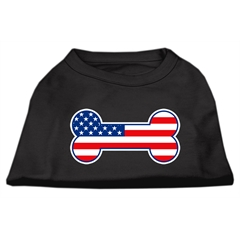 Mirage Pet Products Bone Shaped American Flag Screen Print Shirts  Black M (12)