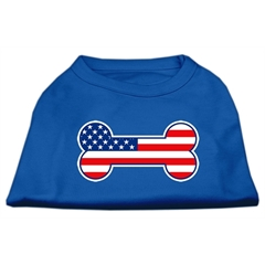 Mirage Pet Products Bone Shaped American Flag Screen Print Shirts Blue XS (8)
