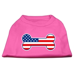 Mirage Pet Products Bone Shaped American Flag Screen Print Shirts  Bright Pink XXL (18)