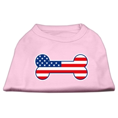Mirage Pet Products Bone Shaped American Flag Screen Print Shirts  Light Pink XXL (18)