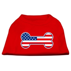 Mirage Pet Products Bone Shaped American Flag Screen Print Shirts  Red XS (8)