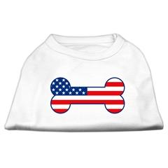 Mirage Pet Products Bone Shaped American Flag Screen Print Shirts  White XS (8)