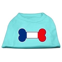 Mirage Pet Products Bone Shaped France Flag Screen Print Shirts Aqua XS (8)