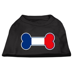 Mirage Pet Products Bone Shaped France Flag Screen Print Shirts Black XXL (18)