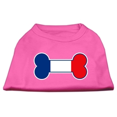 Mirage Pet Products Bone Shaped France Flag Screen Print Shirts Bright Pink XXXL(20)