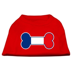 Mirage Pet Products Bone Shaped France Flag Screen Print Shirts Red S (10)