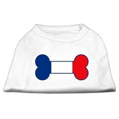 Mirage Pet Products Bone Shaped France Flag Screen Print Shirts White L (14)