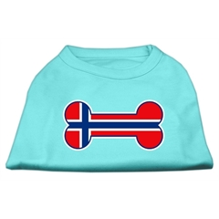 Mirage Pet Products Bone Shaped Norway Flag Screen Print Shirts Aqua XS (8)