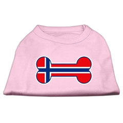 Mirage Pet Products Bone Shaped Norway Flag Screen Print Shirts Light Pink XXXL(20)