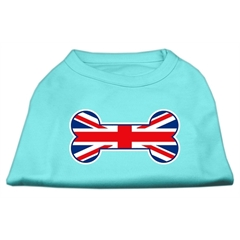 Mirage Pet Products Bone Shaped United Kingdom (Union Jack) Flag Screen Print Shirts Aqua XL (16)