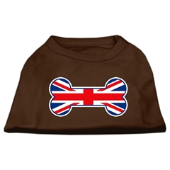 Mirage Pet Products Bone Shaped United Kingdom (Union Jack) Flag Screen Print Shirts Brown XXL (18)
