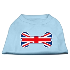 Mirage Pet Products Bone Shaped United Kingdom (Union Jack) Flag Screen Print Shirts Baby Blue XS (8)