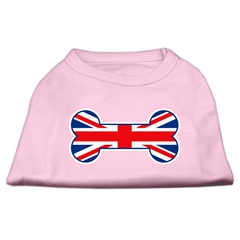 Mirage Pet Products Bone Shaped United Kingdom (Union Jack) Flag Screen Print Shirts Light Pink XXXL(20)