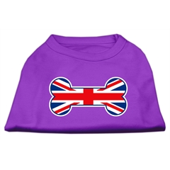 Mirage Pet Products Bone Shaped United Kingdom (Union Jack) Flag Screen Print Shirts Purple M (12)