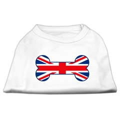 Mirage Pet Products Bone Shaped United Kingdom (Union Jack) Flag Screen Print Shirts White XS (8)