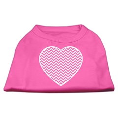 Mirage Pet Products Chevron Heart Screen Print Dog Shirt Bright Pink XXL (18)