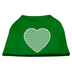 Mirage Pet Products Chevron Heart Screen Print Dog Shirt Green Med (12)