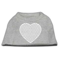 Mirage Pet Products Chevron Heart Screen Print Dog Shirt Grey Med (12)