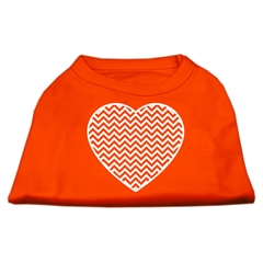 Mirage Pet Products Chevron Heart Screen Print Dog Shirt Orange Lg (14)