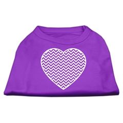 Mirage Pet Products Chevron Heart Screen Print Dog Shirt Purple Lg (14)