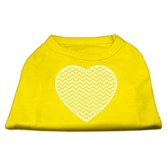 Mirage Pet Products Chevron Heart Screen Print Dog Shirt Yellow Lg (14)