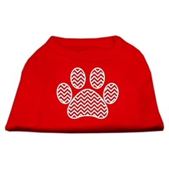 Mirage Pet Products Chevron Paw Screen Print Shirt Red Med (12)