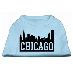 Mirage Pet Products Chicago Skyline Screen Print Shirt Baby Blue Sm (10)