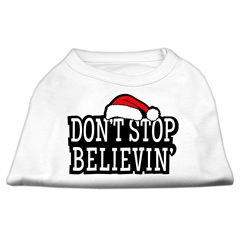 Mirage Pet Products Don't Stop Believin' Screenprint Shirts White XS (8)