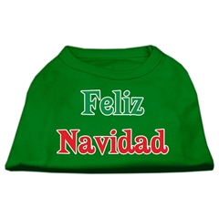 Mirage Pet Products Feliz Navidad Screen Print Shirts Emerald Green Lg (14)