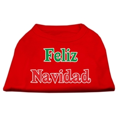Mirage Pet Products Feliz Navidad Screen Print Shirts Red L (14)