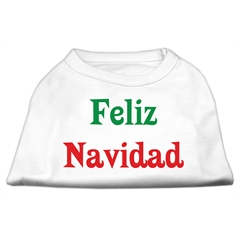 Mirage Pet Products Feliz Navidad Screen Print Shirts White XXL (18)