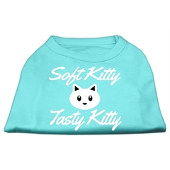 Mirage Pet Products Softy Kitty, Tasty Kitty Screen Print Dog Shirt Aqua Lg (14)
