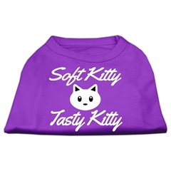 Mirage Pet Products Softy Kitty, Tasty Kitty Screen Print Dog Shirt Purple Lg (14)