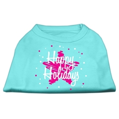 Mirage Pet Products Scribble Happy Holidays Screenprint Shirts Aqua L (14)
