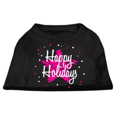 Mirage Pet Products Scribble Happy Holidays Screenprint Shirts Black L (14)