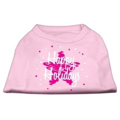 Mirage Pet Products Scribble Happy Holidays Screenprint Shirts Light Pink XL (16)