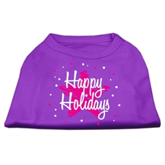 Mirage Pet Products Scribble Happy Holidays Screenprint Shirts Purple M (12)