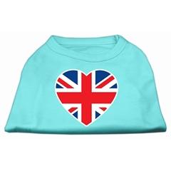 Mirage Pet Products British Flag Heart Screen Print Shirt Aqua Lg (14)