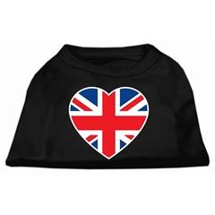 Mirage Pet Products British Flag Heart Screen Print Shirt Black  XXL (18)