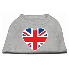 Mirage Pet Products British Flag Heart Screen Print Shirt Grey XL (16)
