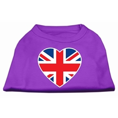 Mirage Pet Products British Flag Heart Screen Print Shirt Purple XXXL (20)