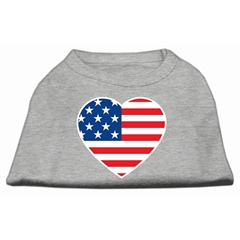 Mirage Pet Products American Flag Heart Screen Print Shirt Grey XL (16)