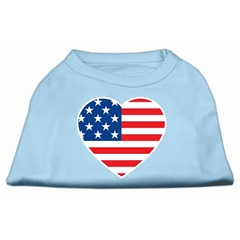 Mirage Pet Products American Flag Heart Screen Print Shirt Baby Blue XS (8)