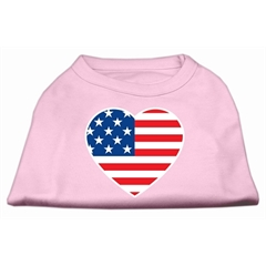 Mirage Pet Products American Flag Heart Screen Print Shirt Light Pink XXL (18)
