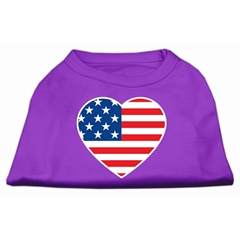 Mirage Pet Products American Flag Heart Screen Print Shirt Purple XS (8)