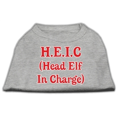 Mirage Pet Products Head Elf In Charge Screen Print Shirt Grey Sm (10)